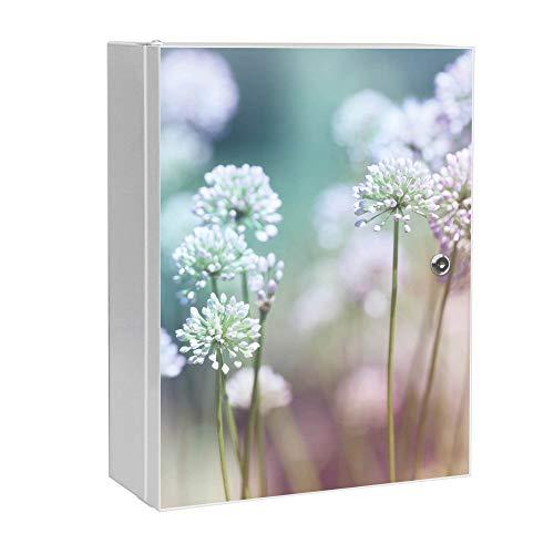 banjado XXL Medizinschrank abschliessbar | großer Arzneischrank 35x46x15cm | Medikamentenschrank aus Metall weiß | Motiv Lauchblüte mit 2 Schlüsseln | Gestaltung auf Front
