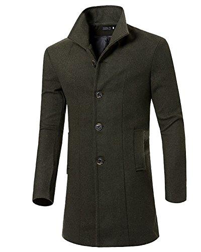MISSMAO Uomo Classico Sottile Giacca Trench Caloroso Cappotto Invernale Cappotto di Lana Verde Esercito M