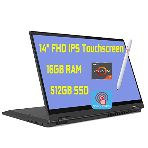 "2020 Premium Lenovo Flex 5 2 in 1 Laptop 14"" FHD IPS Touchscreen AMD 8-Core Ryzen 7 4700U(Beats i7-10510U) 16GB DDR4 512GB PCIe SSD Dolby Fingerprint Backlit Webcam Win 10 + iCarp Pen"