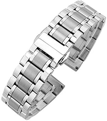 chenghuax Reloj Correa 18mm - 24mm Metal Reloj de Relojes Pulsera Mujeres Silver Silver Acero Inoxidable Reloj Banda Correa Accesorios Pulsera (Color : Silver, Size : 24mm)