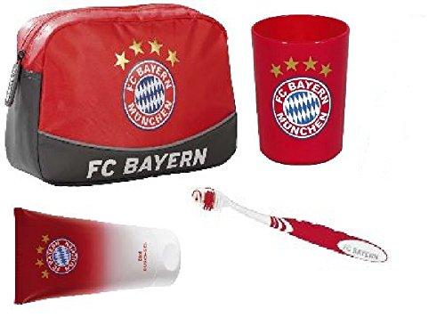 FC Bayern München Set bestehend aus: Kulturbeutel Becher Bürste Duschgel