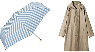 【セット買い】ワールドパーティー(Wpc.) 雨傘 折りたたみ傘 ブルー 50cm レディース スリムポーチタイプ ベーシックストライプミニ 8050-239 BL+レインコート ポンチョ レインウェア ベージュ FREE レディース 収納袋付き R-1110 BE