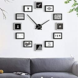 NICE CHOOSE Photo Frame Wall Clock, 12Pcs Modern Design DIY Picture Frame Wall Clock Nordic Style Living Room Home Decor - US Shipping