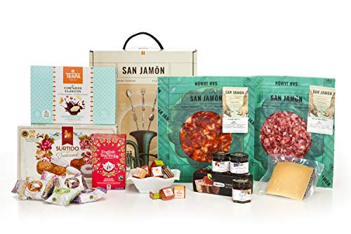 San Jamón - Cesta Regalo Gourmet Ibérica, Dueñas. Chorizo y Salchichón Ibéricos, Queso Manchego, Bombones, Pastas, Mermelada y Té