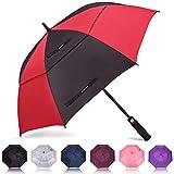 ZOMAKE Paraguas de golf de 165 cm, paraguas grande a prueba de viento automático abierto de gran tamaño con doble toldo para hombres y mujeres, paraguas con palillo ventilado