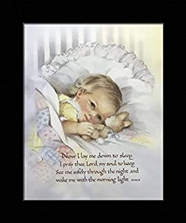 Black 1 inch Framed with Now I Lay to ME Down to Sleep, (White/Victorian/Kids / 18-8X10-AA) 8x10 Inch COBY, Art Print & Poster