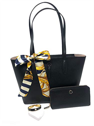 Kate Spade New York Adel Small Tote Handled Handbag Bundled with Large Continental Wallet Skinny Scarf Bangle Bracelet