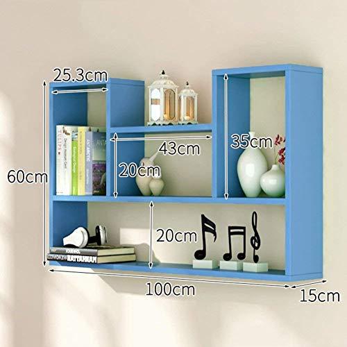 Drijvende planken, wandplank, houder, magazijnrek, Woody, boekenrek, hangkast, huis creatieve accessoires, 10 kleuren, 100 x 15 x 60 cm (kleur: rood) blauw