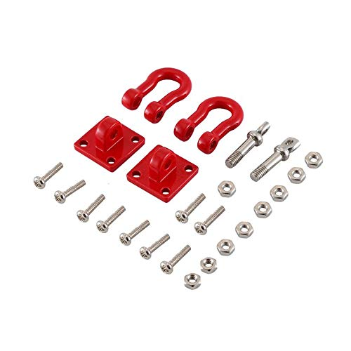 CNmuca Gancho de reboque de resgate de reboque de metal para carro RC para 1/10 rastreador RC TRX-4 axial SCX10 TAMIYA CC01 RC4WD D90 D110 TF2 vermelho