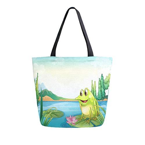 Einkaufstasche, Motiv: Frosch der Fluss, Leinen, wiederverwendbar, mit Griffen
