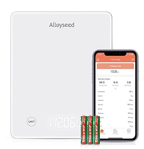 Alloyseed Bilancia da Cucina Bluetooth APP 5Kg/11lbs Digitale Bilancia Elettronica da Cucina Nutrizionale Professionale per Alimenti di Precisione Vetro Temperato Display LCD, 3 Batteries Incluse