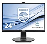 Philips 241B7QPJKEB Webcam Monitor 24' LED IPS, Full HD, Microfono Integrato, Regolabile in Altezza, Girevole, Pivot, Inclinabile, USB 3.0, Casse Audio Integrate, Display Port, HDMI, VGA, Vesa, Nero