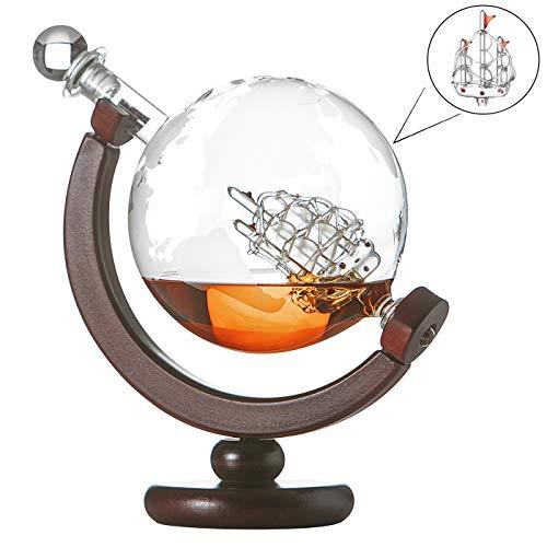 polar-effekt Whiskykaraffe Globus Segelschiff mit gravierter Weltkarte, Dekanter mit Holzständer, Scotch, Cognac Flasche mit luftdichtem Verschluss, Decanter 850ml aus Handarbeit, Geschen für Männer