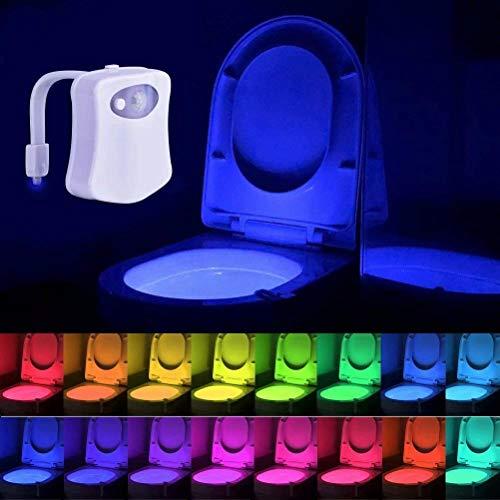 Lampe de Toilette Veilleuse LED Détecteur de Mouvement Éclairage pour WC/Cuvette Siège/Salle de Bain/Cabinet/Lavabo/Seau d'aisances 16 Couleurs Changeantes