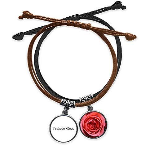 Beauty Gift Hello World - Pulsera de piel con cadena de mano y rosa
