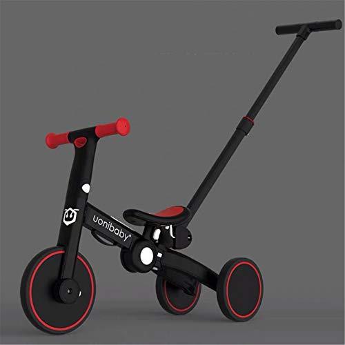 3 en 1 Triciclo para niños 1 años Bicicleta de Equilibrio 2 años Bebes Triciclo para niños 1 a 3 años Amarillo,Red-with-Putter