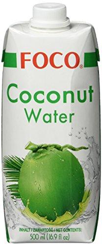 FOCO Kokosnusswasser, exotisches Trendgetränk, erfrischender Durstlöscher, Sportgetränk, kalorienarm, 100 % vegan 12 x 500 ml