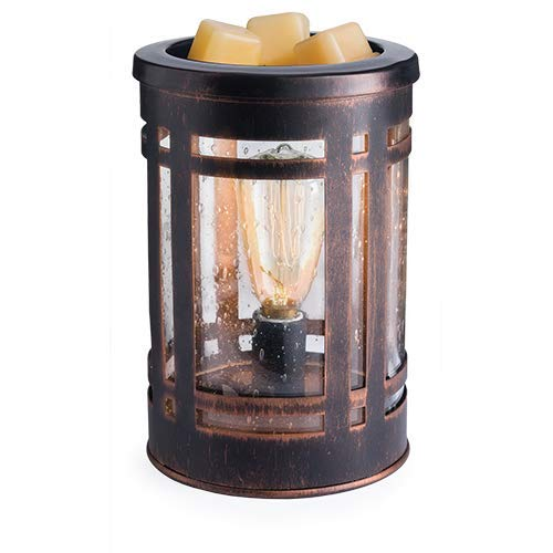 CANDLE WARMERS ETC. Edison Style Illumination Fragrance Warmer- Light-Up Warmer for Warming Scented Candle Wax Melts and Tarts or Essential Oils to Freshen Room, Mission