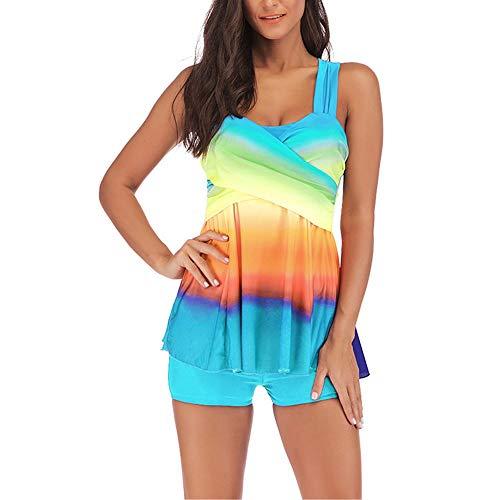 Jmsc Costume da Bagno Tankini Gonna Set Donna Elegante Due Pezzi Beachwear Wavy Stripe Stampa Costume da Bagno Donna Classico Colore Sfumato Gonna Estate Donna Halter Swimsuit da Mare 5XL