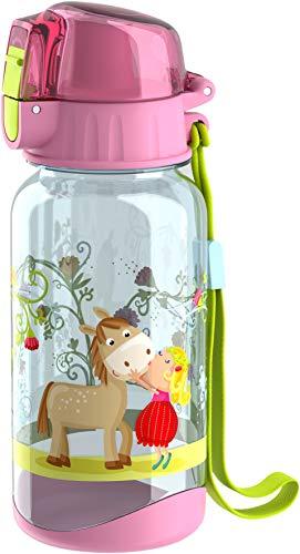 HABA 304485 - Trinkflasche Vicki & Pirli, 400ml Kinder-Trinkflasche mit Pferde-Motiv in Rosa für Kindergarten oder Schule, bpa freier Kunststoff, spülmaschinenfest
