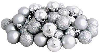 Wish You Have a Nice Day Christmas Ball Ornaments shatterproof,21pcs Mini Silver Satin Shiny and Glitter Finish Bulb (Silver, 4cm)