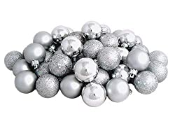 Silver glitter Christmas ornaments