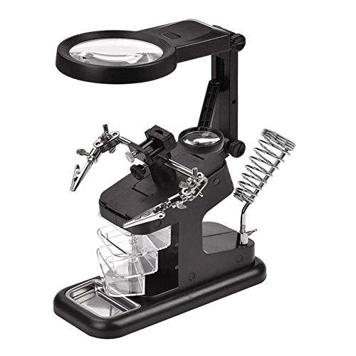 Lupa 10 LED USB Soporte de lupa Estación de soldadura de escritorio 3X 4.5X 25X Lupa multifuncional manos libres, mesa de ayuda para soldadura, con soporte y pinzas de cocodrilo, para ensamblaje, rep