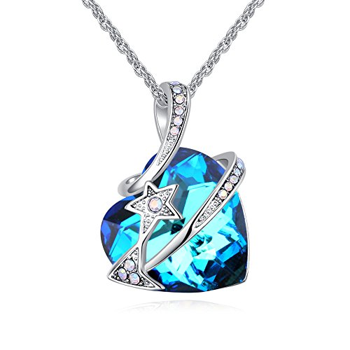 """LWQIONG Heart Necklace for Women Birthstone Jewelry Crystal Pendant Necklace Birthday Gift for Girlfriend,Mon,Wife Silver-Tone, 18""""+2"""" Chain"""