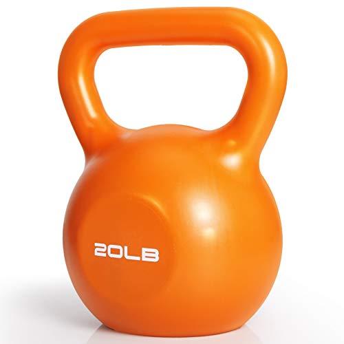 Kettlebell Weight, 20Lb Vinyl Coated Cast Iron Kettlebell Exercise Fitness Kettlebell Grip Hand Kettle bell Weight Set Kettle Ball Set for Women Men Home Gym Workout Ballistic,Core, Strength Training