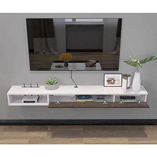 TLMYDD Mueble de Estante de Estante for TV montado en la Pared Consola de Entretenimiento Multimedia, Juego de estanterías con 3 cajones Muebles for el hogar Estante (Color : Gray+White)