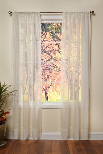 COTTON CRAFT - Genuine Pure 100% Linen Rod Pocket Window Panels - One Pair - Ivory 54x84. Hand Crafted & Hand Stitched Sheer Linen Panels - Generous 6 inch Hem - Truly Sophisticated Luxury