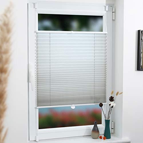 Grandekor Plissee Klemmfix Pliseerollo ohne Bohren 80x120cm (BxH) Grau, Lichtdurchlässig Faltrollo Jalousie Rollos für Fenster & Tür inkl. Klemmträger, Sicht- und Sonnenschutz