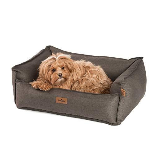 JAMAXX Premium Hundebett - Orthopädisch Memory Visco Füllung, Extra-Hohe Ränder, Waschbar, Hochwertiger Stoff mit viel Eleganz, Hundesofa PDB2018 (S) 70x50 braun