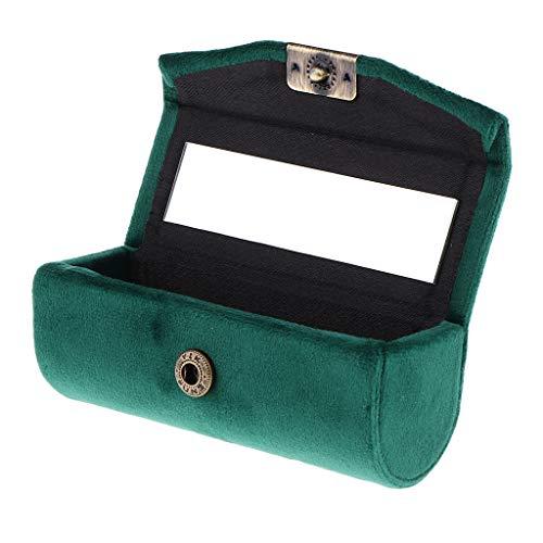 Générique Sharplace Boîte Etui de Rouge à Lèvres en Velveteen avec Mirror Supports Braillant à Lèvres Lipstick Petit de Boîte à Bijoux - Vert foncé
