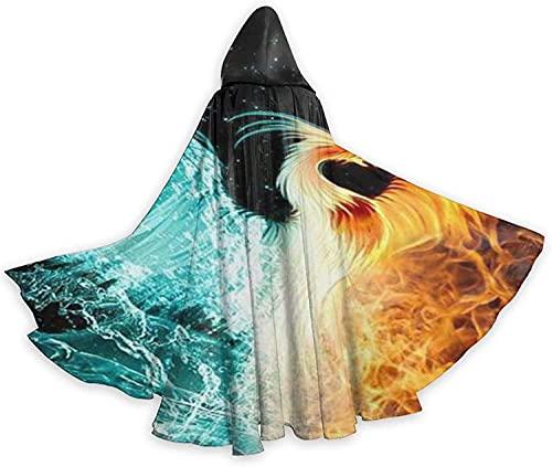 KEROTA Capa con capucha de Halloween Enmarcando Fnix Fuego y Llama de Hielo Bruja Navidad Adulto Cosplay Fiesta Cabo
