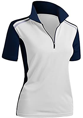 CLOVERY Quick Drying Active Wear Short Sleeve Zipup Polo Shirt Whitenavy US M/Tag M