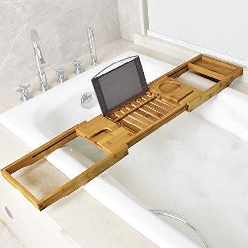 BELOVINGSHOP Tablett Badewanne, Badablage-Gestell mit Smartphone und Weinglashalter Tablet-Halter, Ausziehbar (70-105CM), Badewannenhalter für Meisten Badewannengrößen