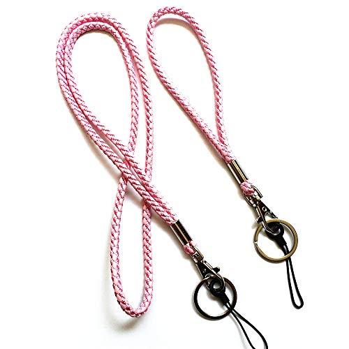 Schlüsselband aus geflochtenem Leder, für Handgelenk/Hals, 1 x lang + 1 x kurz, für Schlüsselanhänger, Kamera, Handy, Namensschild, USB-Stick rose