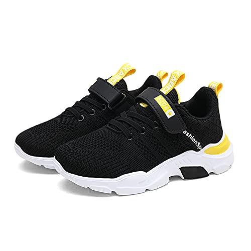 Unpowlink Kinder Schuhe Sportschuhe Ultraleicht Atmungsaktiv Turnschuhe Klettverschluss Low-Top Sneakers Laufen Schuhe Laufschuhe für Mädchen Jungen 28-37, 920-rosa, 34 EU