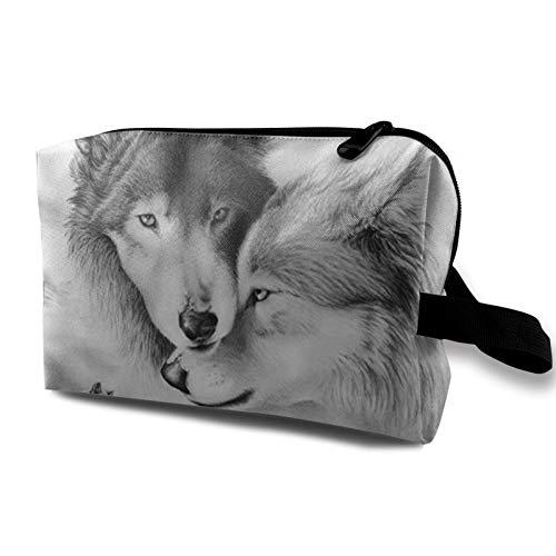 Bolsa de almacenamiento de lona de maquillaje de viaje, bolso de aseo portátil, pequeño organizador de cosméticos, bolsa de monedas para niñas y mujeres, hombres, lobos salvajes depredadores de pie