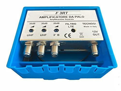 Vsnetwork Amplificatore Antenna TV da Palo con Filtro Lte/4G, Guadagno Massimo 30Db Regolabile, Amplificatore Antenna TV 2 Ingressi Uhf+1 Vhf, Bande separate