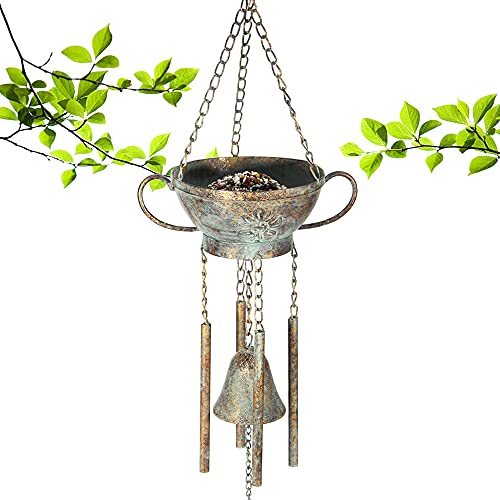 Kimdio Bird Feeders for Outside Wild Bird Feeder for Finch, Bell Seed Tray, Outdoor Garden Backyard Decorative Great for Attracting Pet Hummingbird Feeder with 5.7 inch (Dia)