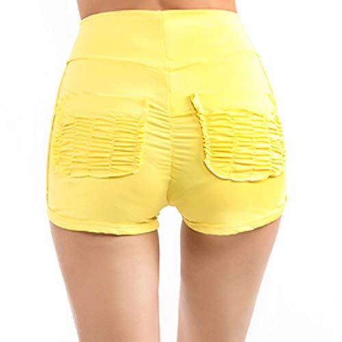 IHCIAIX Sommer Damen Shorts, Sommer Damen Shorts, Rot Gelb Plissee Pocket Hips Casual Shorts Sexy Abnehmen und zerknitterte Freizeit Damen Shorts, gelb, L.