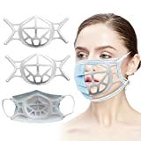 3D Mask Bracket, Silicone Face Guard, Face Frame - Lipstick Protection - Keep Your Face Cover Clean - Face Inner Support Frame for Comfortable Breathing - Washable & Reusable (2PACK - White)