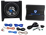 Rockville RV8.1A 400w 8' Loaded Car Subwoofer Enclosure+Mono Amplifier+Amp Kit
