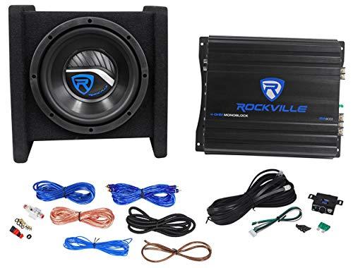 Rockville RV8.1A 400w 8  Loaded Car Subwoofer Enclosure+Mono Amplifier+Amp Kit