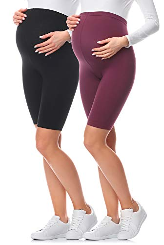 Be Mammy Leggins Premamá Cortos Embarazo Ropa Deporte 2Pack BE20-228 (2Pack Negro/Burdeos, XL)