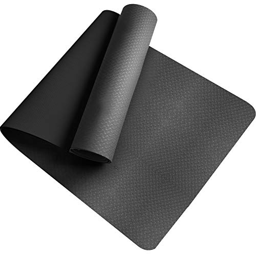 Tappetino da Yoga , Ecologico TPE Double-Sided Antiscivolo Yoga Mats Tappetino Palestra per Fitness Pilates e Ginnastica 181 cm x 61 cm x 0.6 cm (Nero)