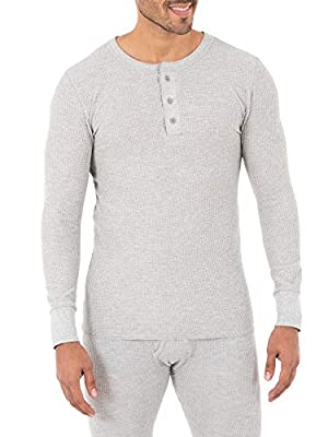 Fruit of the Loom Men's Classic Midweight Waffle Thermal Henley Top, Grey Heather, Medium