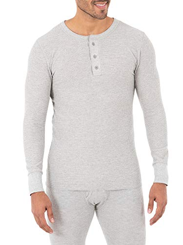 Fruit of the Loom Men's Classic Midweight Waffle Thermal Henley Top, Grey Heather, 5X-Large